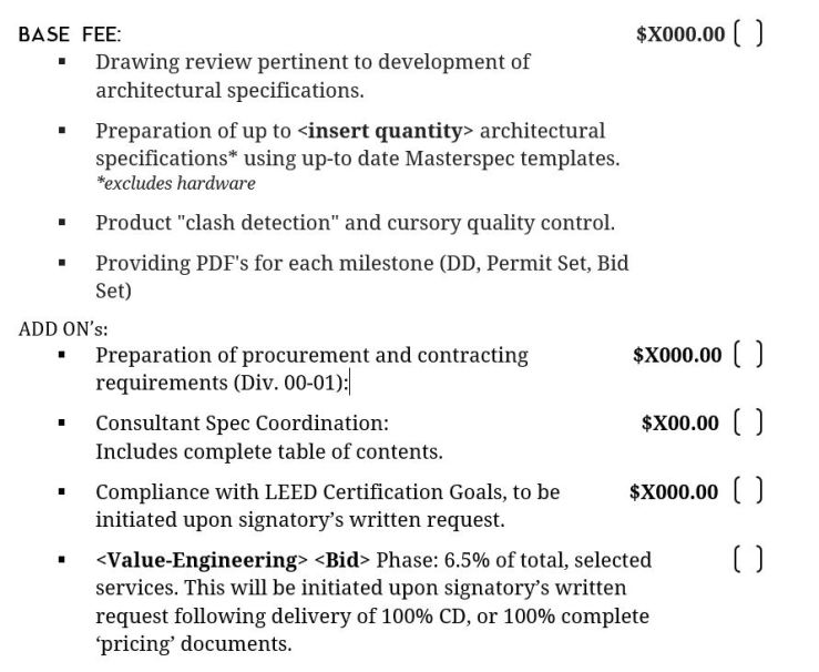 Sample Fee Structure
